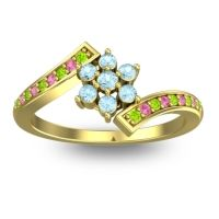 Simple Floral Pave Utpala Aquamarine Ring with Peridot and Pink Tourmaline in 18k Yellow Gold