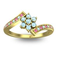 Simple Floral Pave Utpala Aquamarine Ring with Pink Tourmaline in 14k Yellow Gold