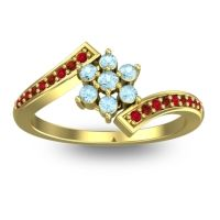 Simple Floral Pave Utpala Aquamarine Ring with Ruby and Garnet in 18k Yellow Gold