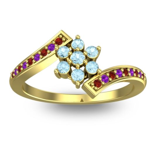 Simple Floral Pave Utpala Aquamarine Ring with Garnet and Amethyst in 14k Yellow Gold