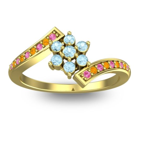 Simple Floral Pave Utpala Aquamarine Ring with Pink Tourmaline and Citrine in 18k Yellow Gold