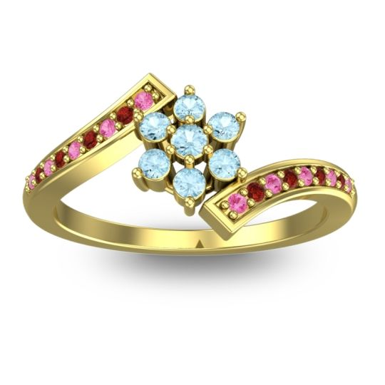Simple Floral Pave Utpala Aquamarine Ring with Pink Tourmaline and Garnet in 18k Yellow Gold