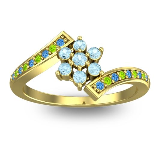 Simple Floral Pave Utpala Aquamarine Ring with Swiss Blue Topaz and Peridot in 18k Yellow Gold