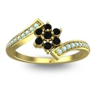 Simple Floral Pave Utpala Black Onyx Ring with Aquamarine in 18k Yellow Gold