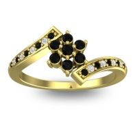 Simple Floral Pave Utpala Black Onyx Ring with Diamond in 18k Yellow Gold