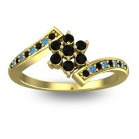 Simple Floral Pave Utpala Black Onyx Ring with Swiss Blue Topaz in 14k Yellow Gold