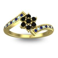 Simple Floral Pave Utpala Black Onyx Ring with Blue Sapphire and Aquamarine in 18k Yellow Gold