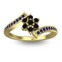 Simple Floral Pave Utpala Black Onyx Ring with Blue Sapphire in 14k Yellow Gold