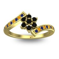 Simple Floral Pave Utpala Black Onyx Ring with Blue Sapphire and Citrine in 18k Yellow Gold