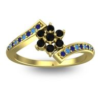 Simple Floral Pave Utpala Black Onyx Ring with Blue Sapphire and Swiss Blue Topaz in 18k Yellow Gold