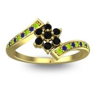 Simple Floral Pave Utpala Black Onyx Ring with Peridot and Blue Sapphire in 18k Yellow Gold
