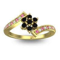 Simple Floral Pave Utpala Black Onyx Ring with Pink Tourmaline and Diamond in 14k Yellow Gold