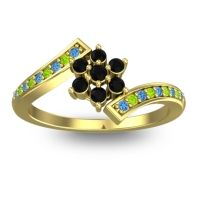 Simple Floral Pave Utpala Black Onyx Ring with Swiss Blue Topaz and Peridot in 14k Yellow Gold