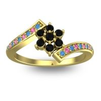 Simple Floral Pave Utpala Black Onyx Ring with Swiss Blue Topaz and Pink Tourmaline in 14k Yellow Gold