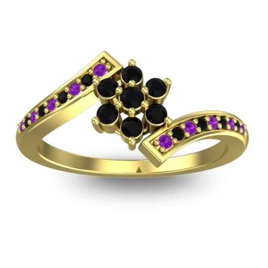 Simple Floral Pave Utpala Black Onyx Ring with Amethyst in 18k Yellow Gold