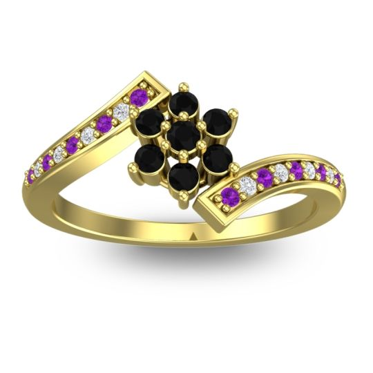 Simple Floral Pave Utpala Black Onyx Ring with Amethyst and Diamond in 18k Yellow Gold