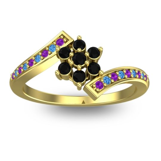 Simple Floral Pave Utpala Black Onyx Ring with Amethyst and Swiss Blue Topaz in 18k Yellow Gold