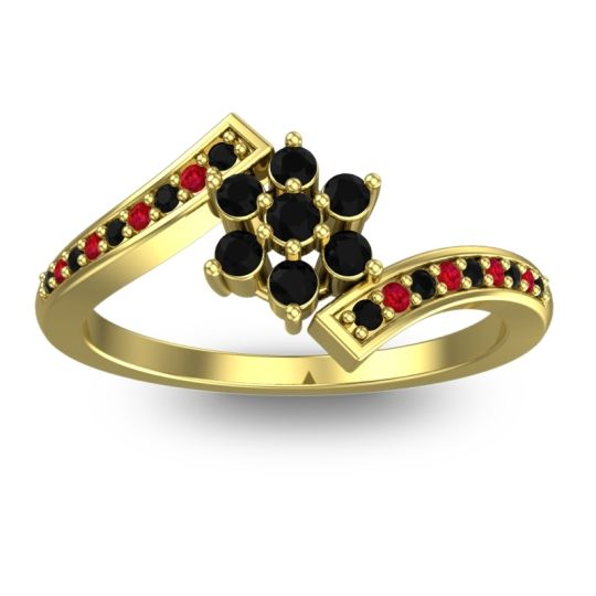 Simple Floral Pave Utpala Black Onyx Ring with Ruby in 14k Yellow Gold