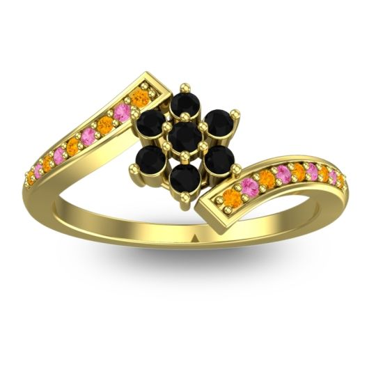 Simple Floral Pave Utpala Black Onyx Ring with Citrine and Pink Tourmaline in 18k Yellow Gold