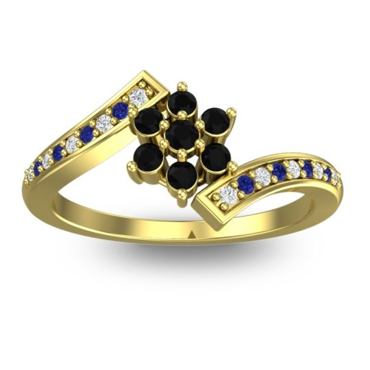 Simple Floral Pave Utpala Black Onyx Ring with Diamond and Blue Sapphire in 18k Yellow Gold