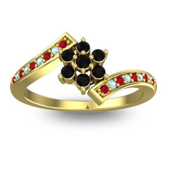 Simple Floral Pave Utpala Black Onyx Ring with Ruby and Aquamarine in 14k Yellow Gold