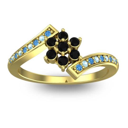 Simple Floral Pave Utpala Black Onyx Ring with Swiss Blue Topaz and Aquamarine in 18k Yellow Gold