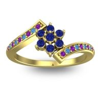 Simple Floral Pave Utpala Blue Sapphire Ring with Amethyst and Swiss Blue Topaz in 14k Yellow Gold
