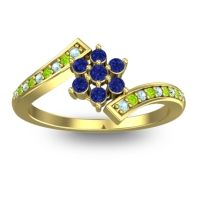 Simple Floral Pave Utpala Blue Sapphire Ring with Aquamarine and Peridot in 18k Yellow Gold