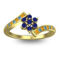 Simple Floral Pave Utpala Blue Sapphire Ring with Citrine and Swiss Blue Topaz in 14k Yellow Gold