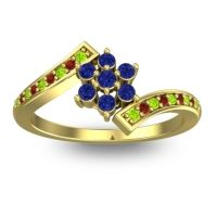 Simple Floral Pave Utpala Blue Sapphire Ring with Peridot and Garnet in 18k Yellow Gold