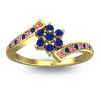 Simple Floral Pave Utpala Blue Sapphire Ring with Pink Tourmaline in 14k Yellow Gold