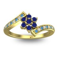 Simple Floral Pave Utpala Blue Sapphire Ring with Swiss Blue Topaz and Diamond in 14k Yellow Gold