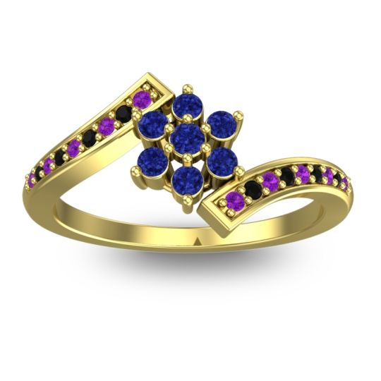 Simple Floral Pave Utpala Blue Sapphire Ring with Amethyst and Black Onyx in 14k Yellow Gold