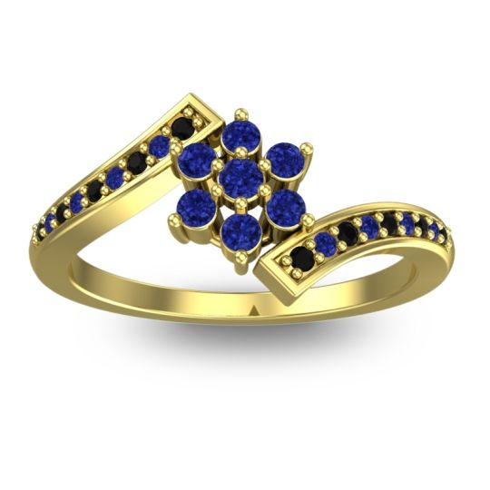 Simple Floral Pave Utpala Blue Sapphire Ring with Black Onyx in 18k Yellow Gold