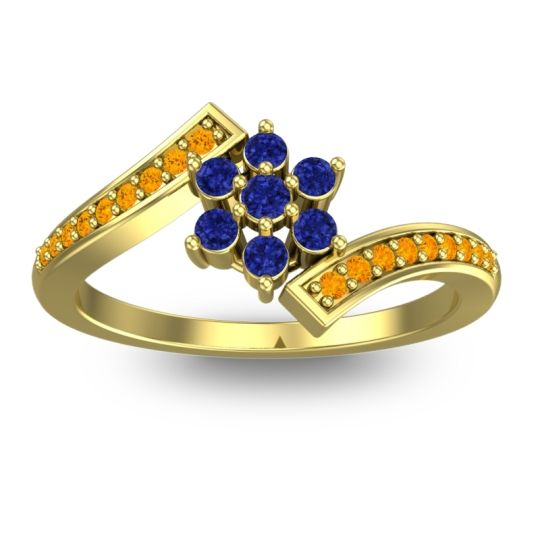 Simple Floral Pave Utpala Blue Sapphire Ring with Citrine in 18k Yellow Gold