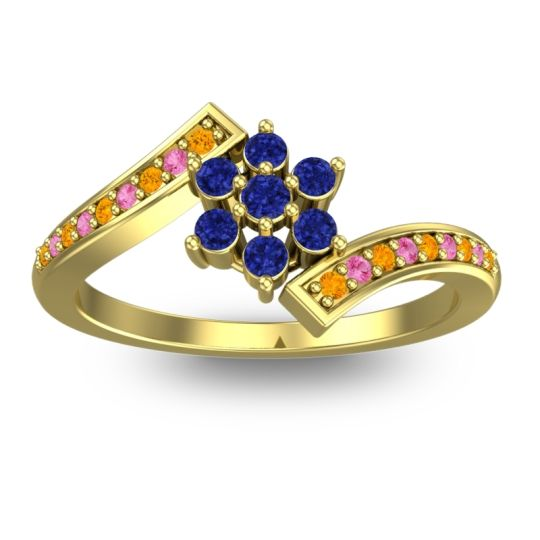 Simple Floral Pave Utpala Blue Sapphire Ring with Citrine and Pink Tourmaline in 18k Yellow Gold