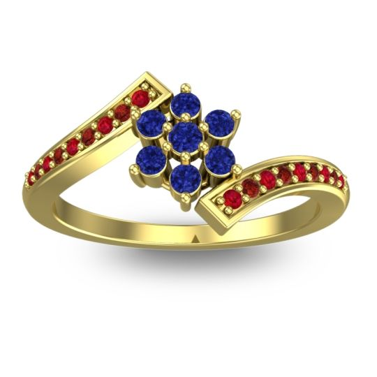 Simple Floral Pave Utpala Blue Sapphire Ring with Ruby and Garnet in 18k Yellow Gold
