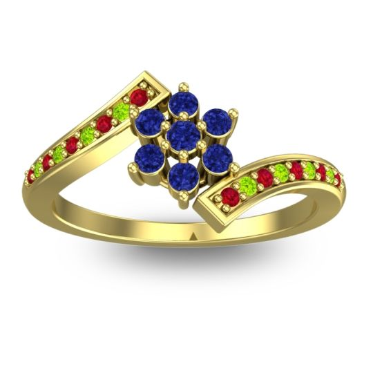 Simple Floral Pave Utpala Blue Sapphire Ring with Ruby and Peridot in 18k Yellow Gold