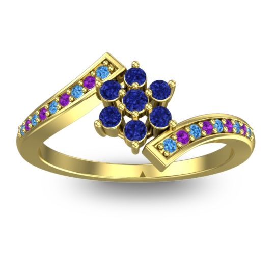 Simple Floral Pave Utpala Blue Sapphire Ring with Swiss Blue Topaz and Amethyst in 14k Yellow Gold