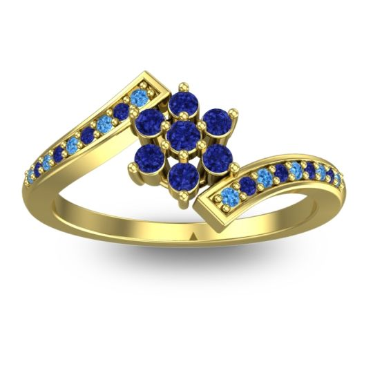 Simple Floral Pave Utpala Blue Sapphire Ring with Swiss Blue Topaz in 14k Yellow Gold