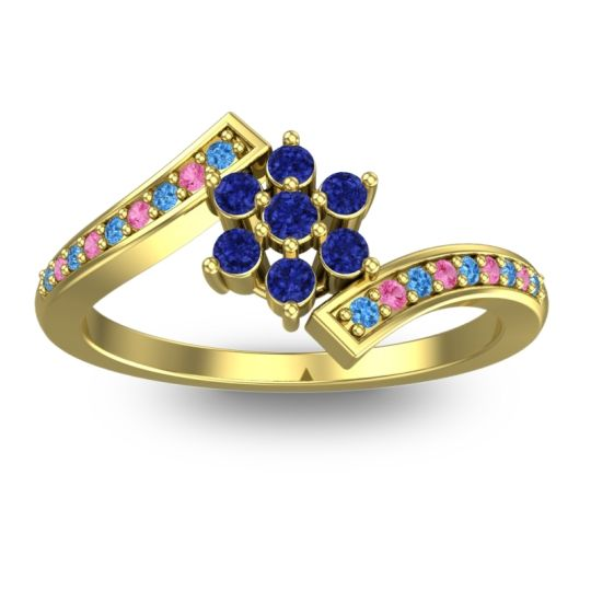 Simple Floral Pave Utpala Blue Sapphire Ring with Swiss Blue Topaz and Pink Tourmaline in 14k Yellow Gold