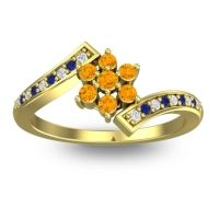 Simple Floral Pave Utpala Citrine Ring with Diamond and Blue Sapphire in 14k Yellow Gold