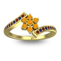 Simple Floral Pave Utpala Citrine Ring with Garnet and Blue Sapphire in 14k Yellow Gold