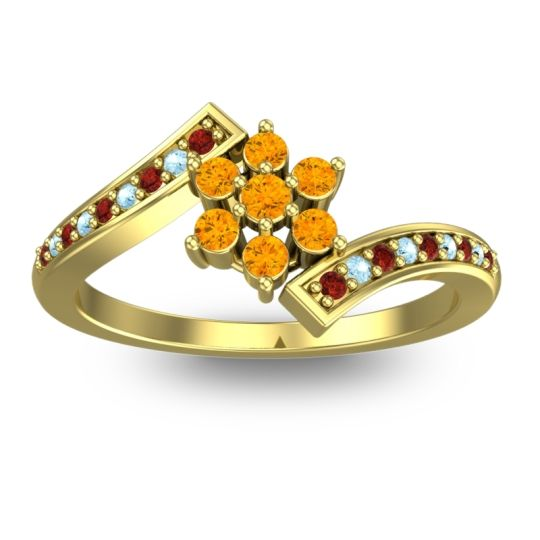 Simple Floral Pave Utpala Citrine Ring with Garnet and Aquamarine in 14k Yellow Gold