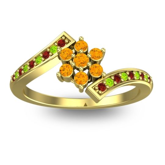 Simple Floral Pave Utpala Citrine Ring with Garnet and Peridot in 18k Yellow Gold