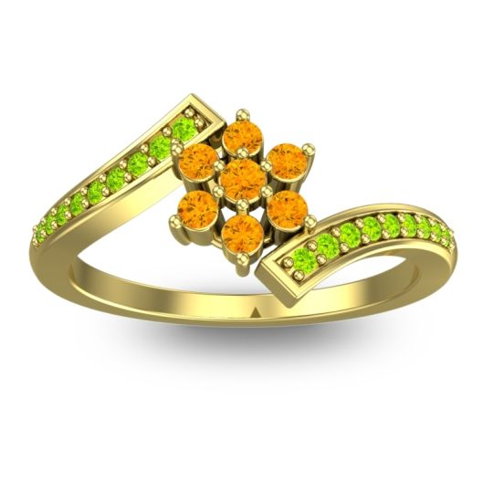 Simple Floral Pave Utpala Citrine Ring with Peridot in 18k Yellow Gold