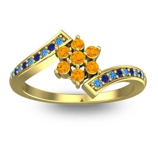 Citrine Simple Floral Pave Utpala Ring with Swiss Blue Topaz and Blue Sapphire in 14k Yellow Gold