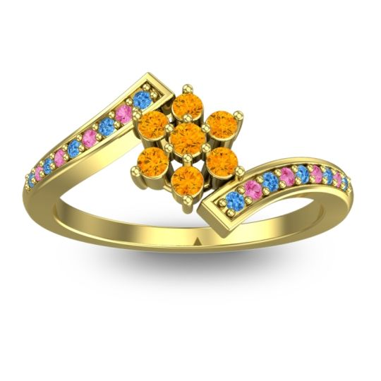 Citrine Simple Floral Pave Utpala Ring with Swiss Blue Topaz and Pink Tourmaline in 14k Yellow Gold