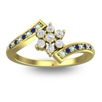 Diamond Simple Floral Pave Utpala Ring with Aquamarine and Blue Sapphire in 18k Yellow Gold