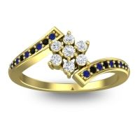 Simple Floral Pave Utpala Diamond Ring with Blue Sapphire and Black Onyx in 14k Yellow Gold